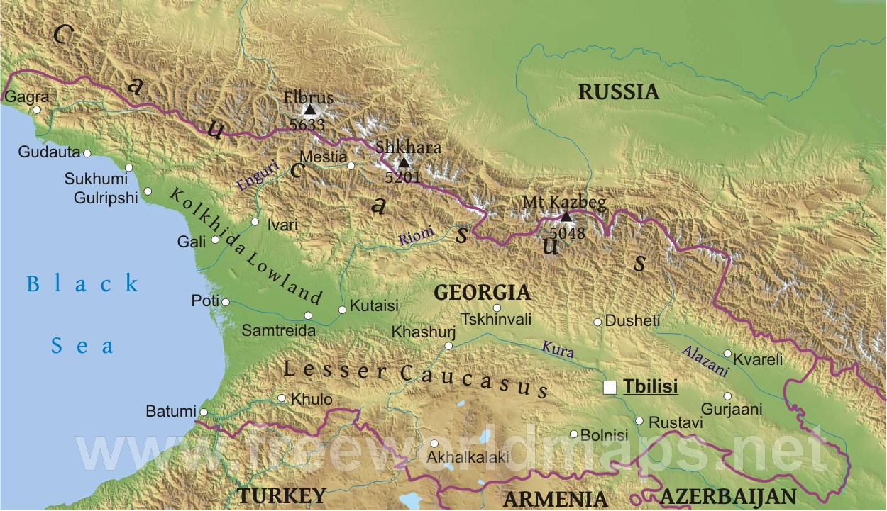 Caucasus Mountains Location Physical Map