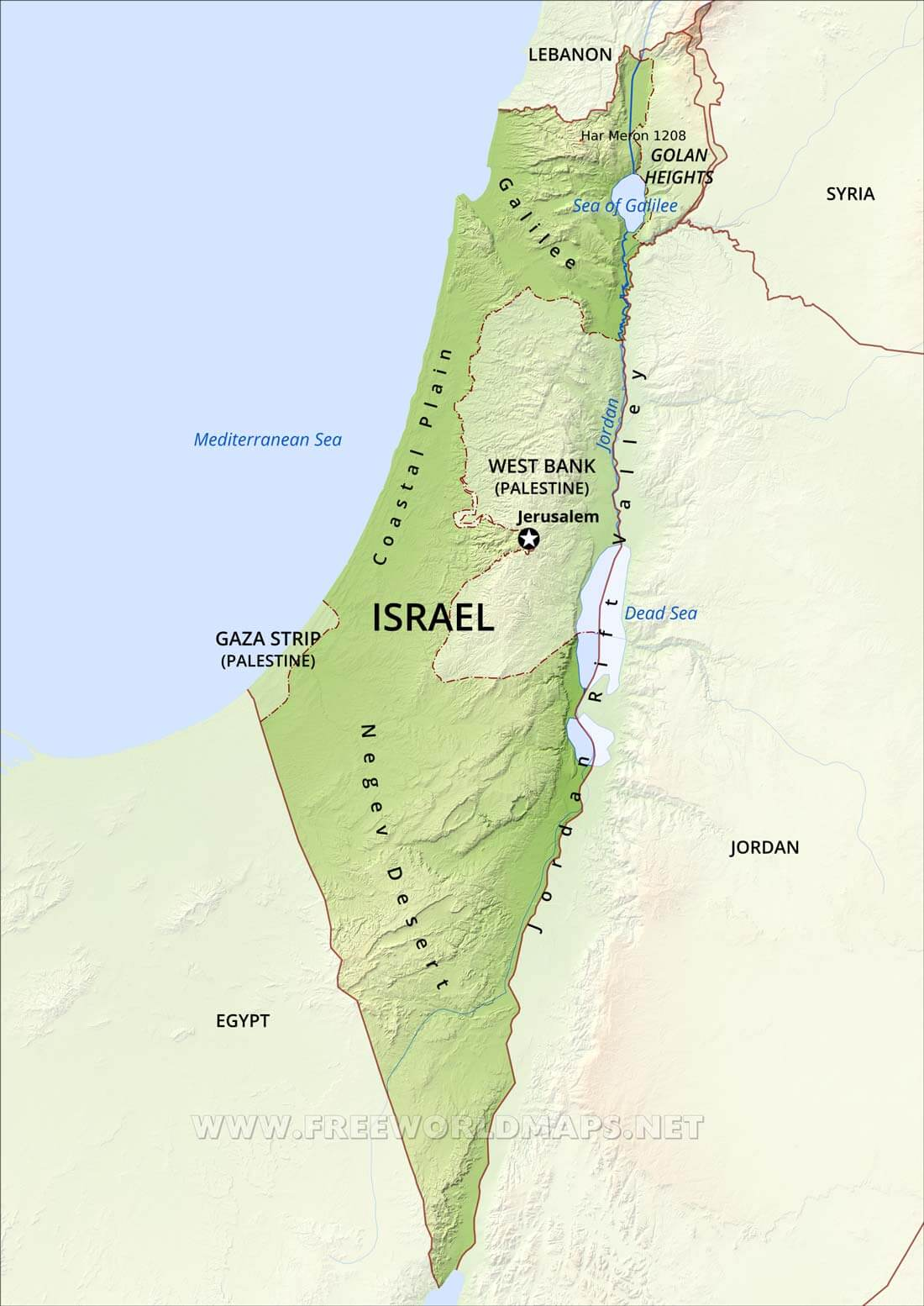 Israel Mountains Map