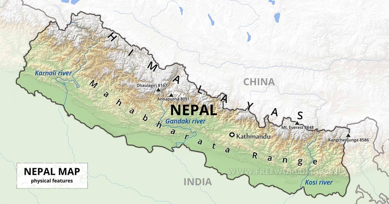 Nepal Physical Map