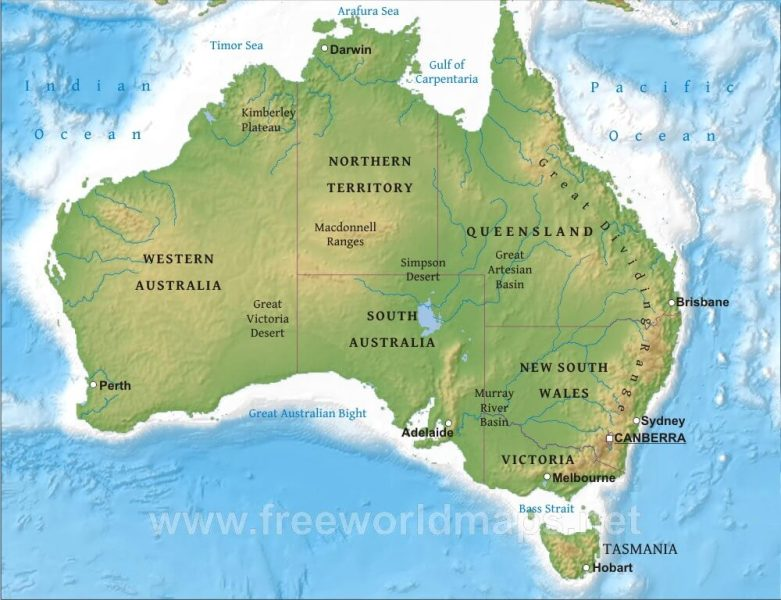 Australia Physical Map     Freeworldmaps net Australia Physical Map