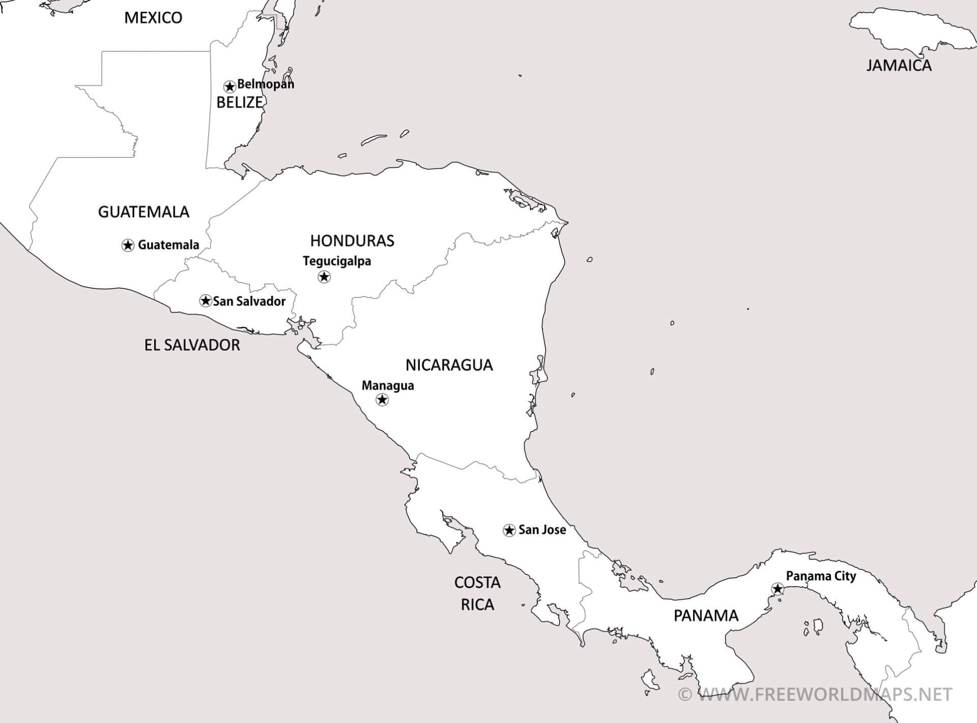 Central America Printable Maps Freeworldmaps