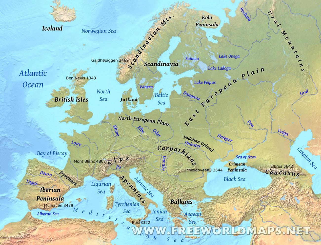 Europe Physical Map Freeworldmaps