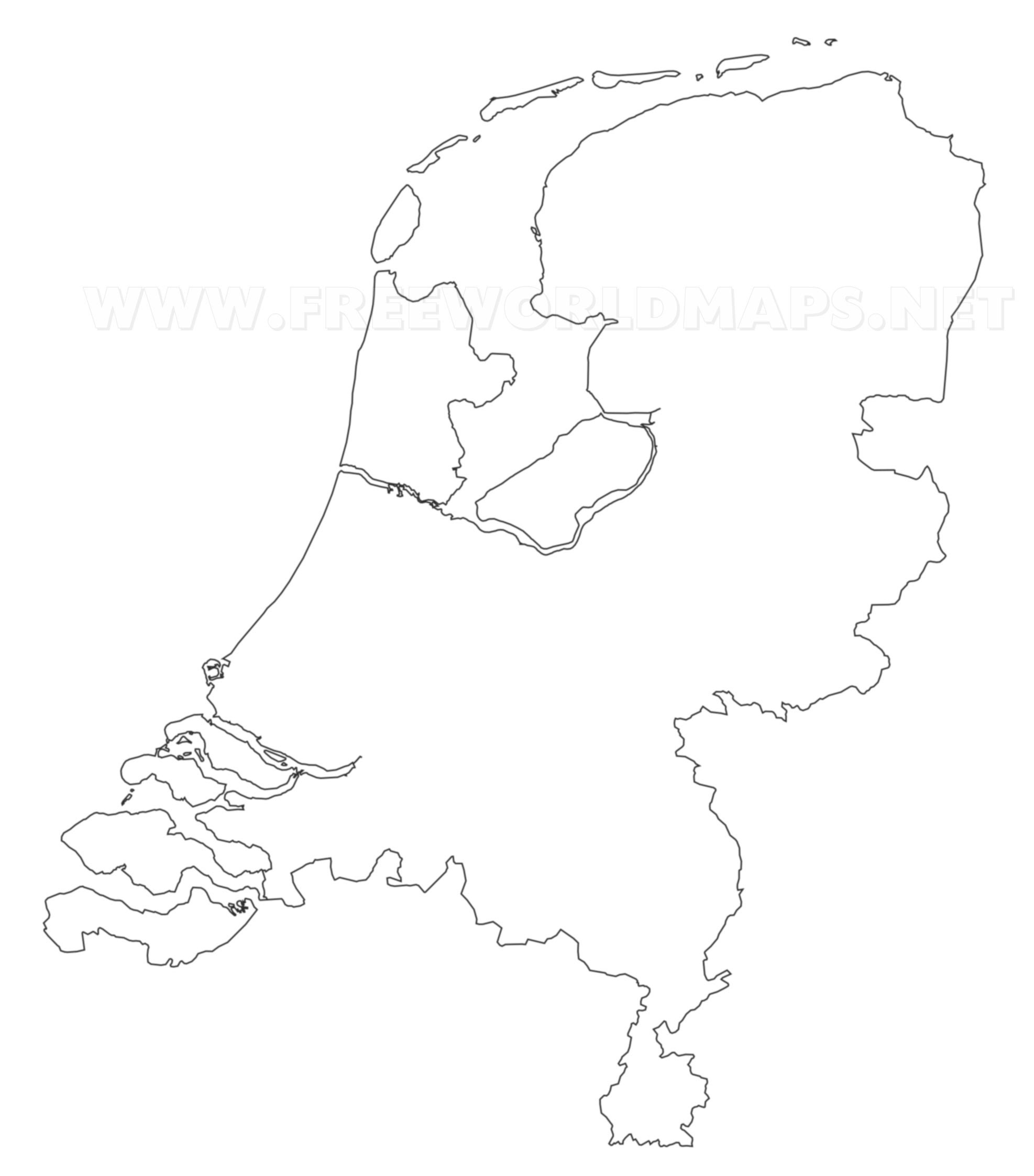 The Netherlands Political Map     The Netherlands outline map