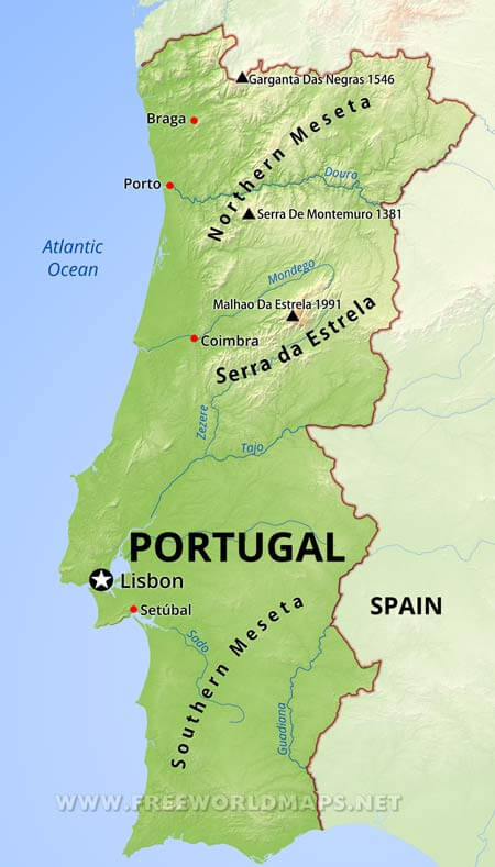 Major Physical Features Portugal