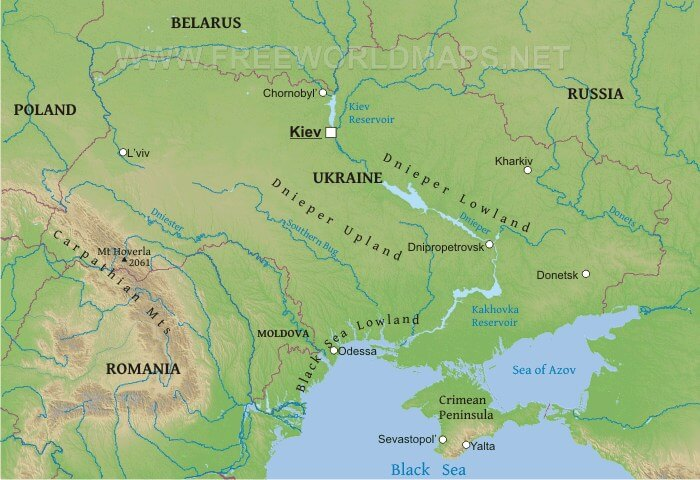 Physical Map of Ukraine