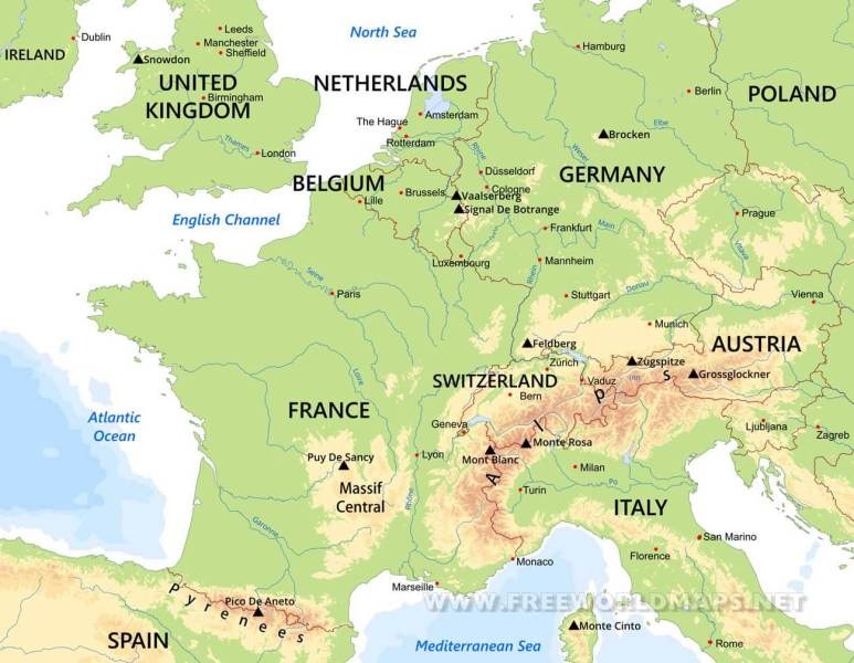 Western Europe Physical Map Physical map of Western Europe