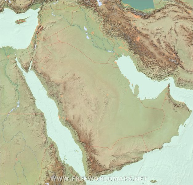 Free Middle East Maps     by Freeworldmaps net Middle East physical map