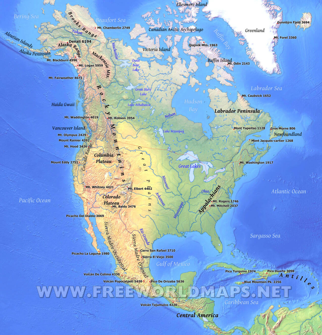 North America Physical Map Freeworldmaps