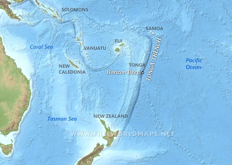 Tonga Trench Map