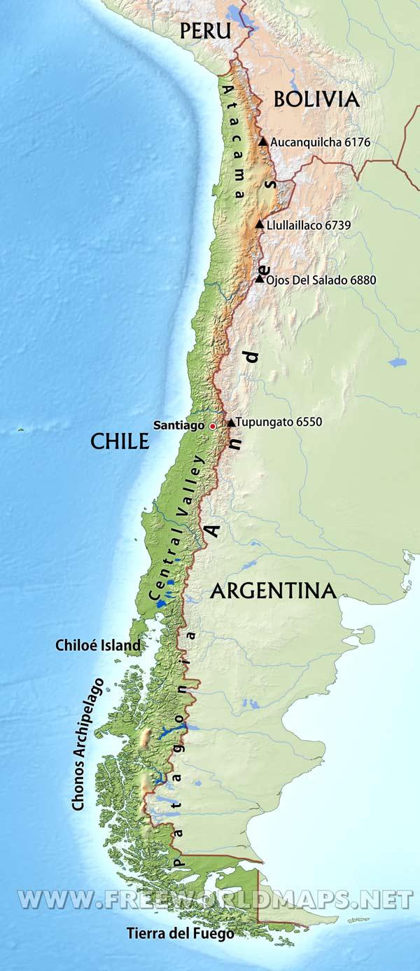 Atacama Desert Physical Map South America