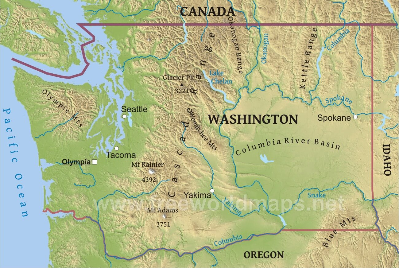 Physical Map Of Washington