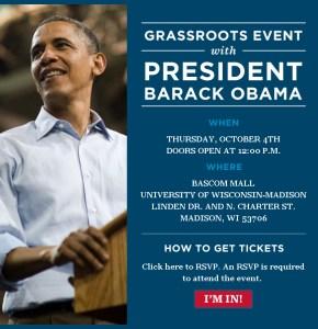 Obama Rally Invite for 4 October 2012