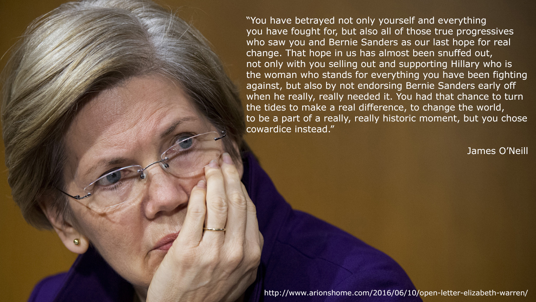 """You have betrayed not only yourself and everything you have fought for, but also all of those true progressives who saw you and Bernie Sanders as our last hope for real change. That hope in us has almost been snuffed out, not only with you selling out and supporting Hillary who is the woman who stands for everything you have been fighting against, but also by not endorsing Bernie Sanders early on when he really, really needed it. You had that chance to turn the tides to make a real difference, to change the world, to be a part of a really, really historic moment, but you chose cowardice instead."""