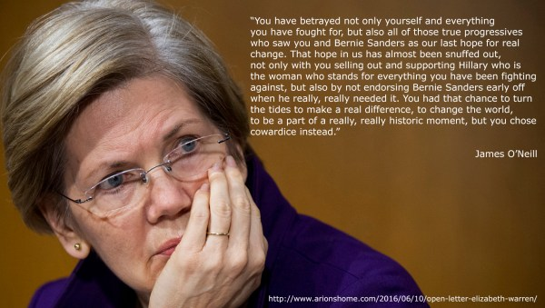 A quote from my post titled 'An Open Letter to Elizabeth Warren'