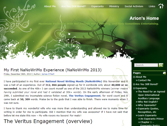 Screenshot of ArionsHome.com in 2013