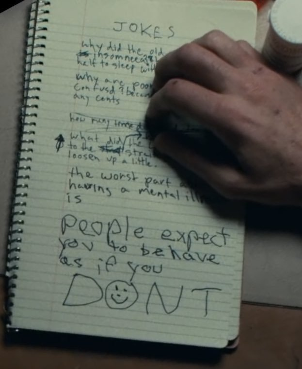 """The worst part about mental illness is people expect you to act like you don't."" (Screen capture from Joker)"