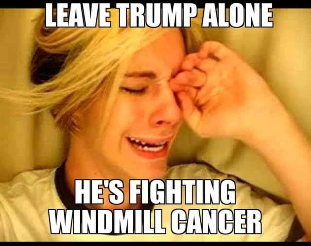 Leave Trump Alone! He's Fighting Windmill Cancer!
