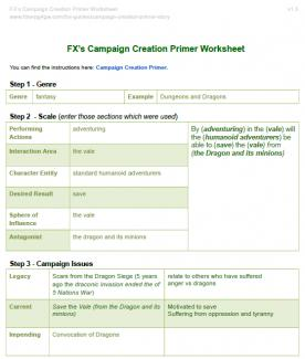 Campaign Creation Primer Worksheet sample