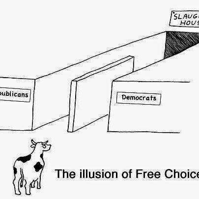 The Illusion of Free Choice - Republican and Democrats leads to the one party system slaughterhouse