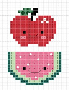 cute fruit watermelon and apple cross stitch patterns