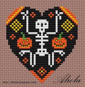 skeleton heart free cross stitch pattern
