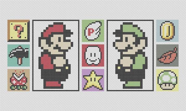 Mario and Luigi Cross Stitch Pattern