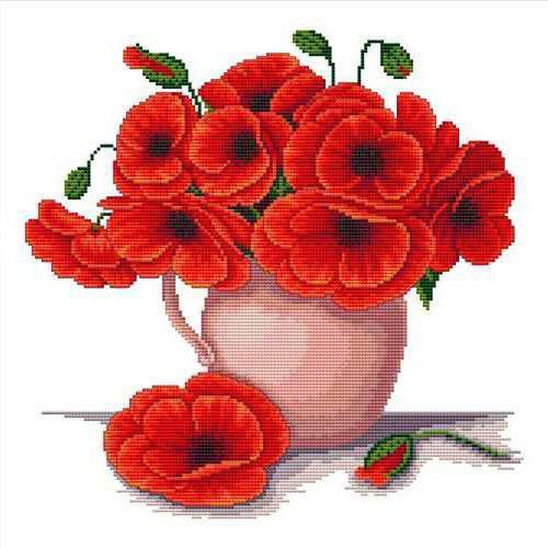 beautiful poppies in a vase free cross stitch pattern