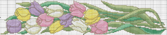 spring tulips free cross stitch pattern preview