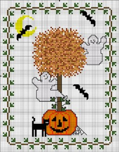 Halloween Topiary free cross stitch pattern from DMC