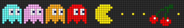 pacman and ghosts with cherry free pixel pattern