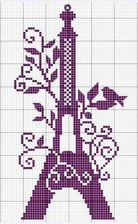 eiffel tower with birds and flowers free cross stitch pattern