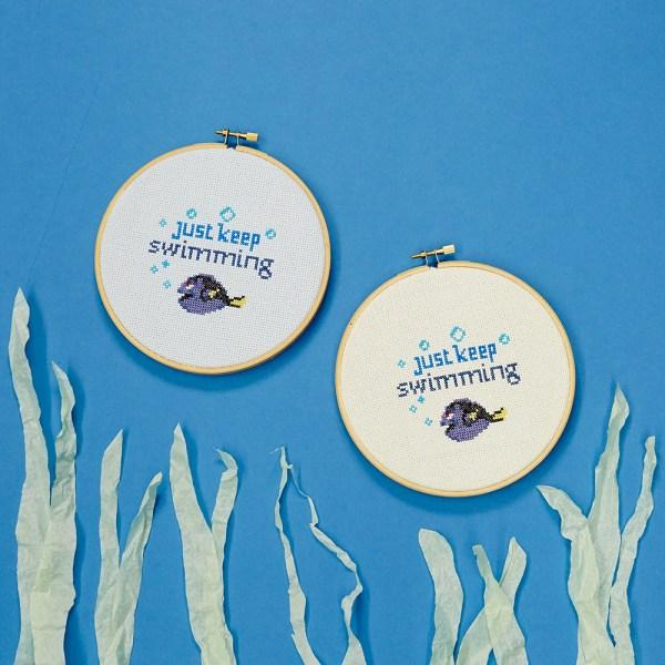 Dory - Just Keep Swimming cute free cross stitch pattern
