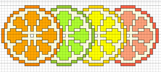 citrus slices cross stitch pattern preview