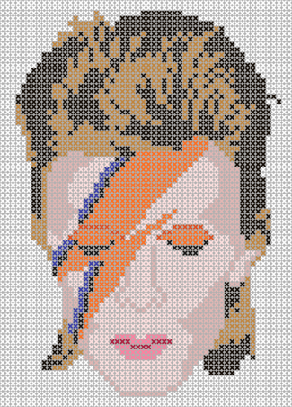 david bowie tribute and remembrance cross stitch pattern