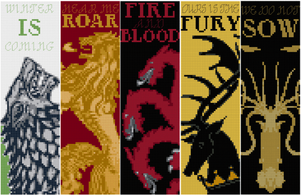 game of thrones bookmark cross stitch patterns