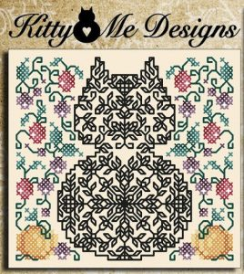 Autumn Cat Blackwork Pattern Free from Pamela Kellogg at Kitty & Me Designs