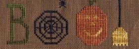 "glory bee free cross stitch pattern ""boo!"" for halloween"