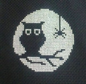 free owl moon cross stitch pattern from Jacquie Morris at My Journey blog