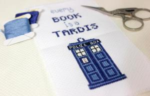 every book is a TARDIS bookmark stitched [photo]