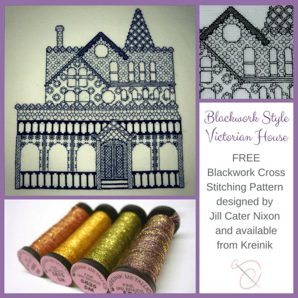 Free Blackwork Pattern Victorian Style House