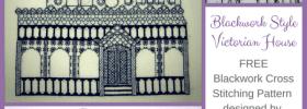 beautiful blackwork victorian house free cross stitching pattern from kreinik
