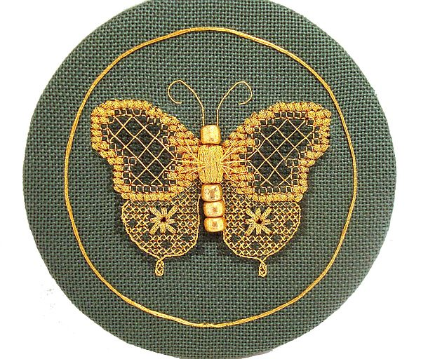 golden butterfly free cross stitch pattern