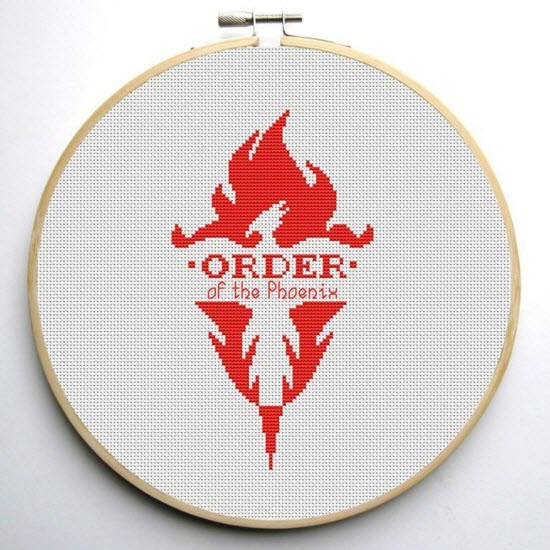 Harry Potter Free Cross Stitch Pattern Order of the Phoenix Flame Design