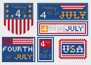 set of six 4th of july free cross stitch patterns from Alita Designs