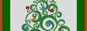 swirly christmas tree free cross stitch pattern