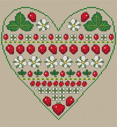 Strawberry Heart band sampler free cross stitch pattern from Amanda Gregory
