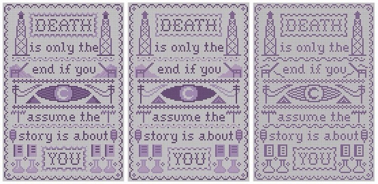 Welcome to Night Vale cross stitch sampler previews