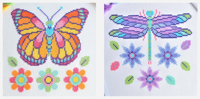 Dragonfly and Butterfly Free Cross Stitch Patterns from The World in Stitches