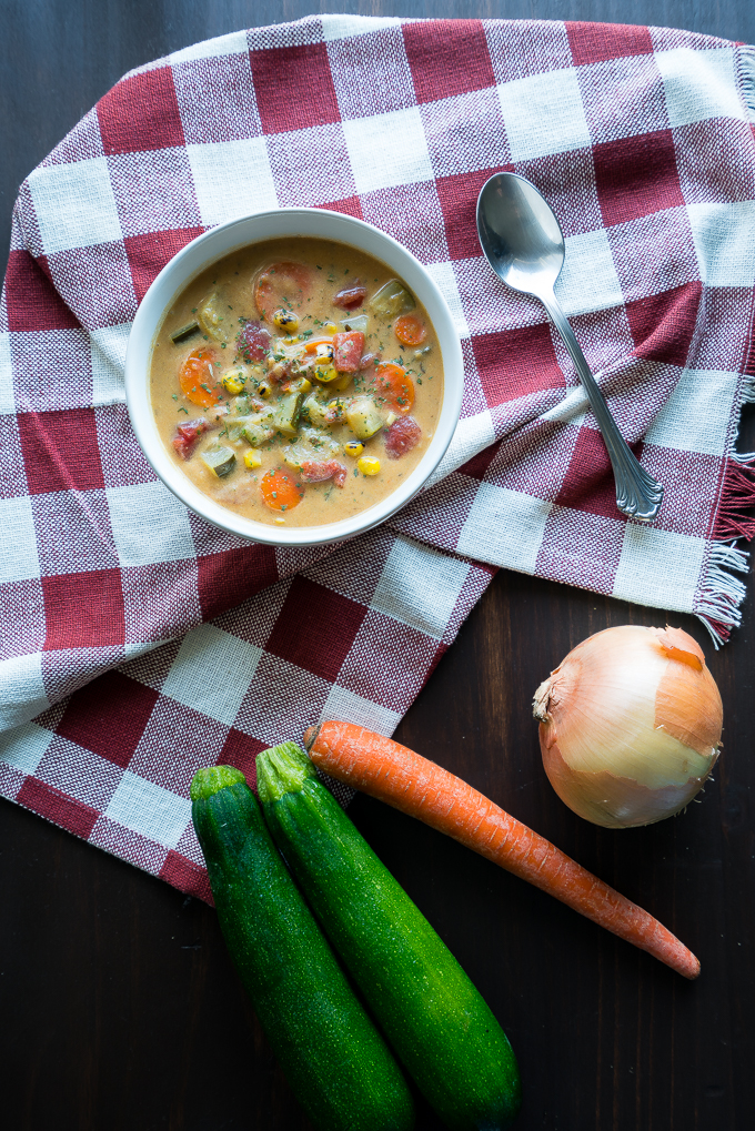 Creamy Vegetable Soup – Healthy recipe for Creamy Vegetable Soup! Uses zucchini, broccoli stalks, carrots, corn, tomatoes, and more. We love that this recipe is gluten-free, dairy-free, and potato-free with options to make it vegetarian/vegan friendly!♥ | freeyourfork.com
