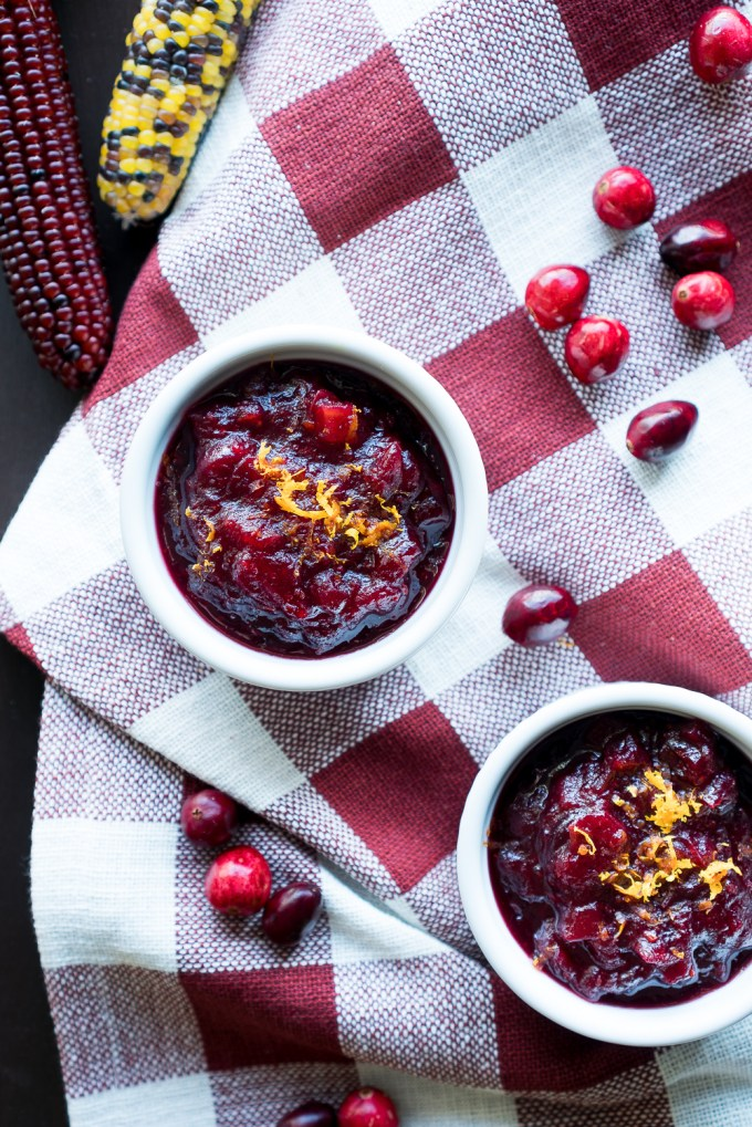 Whole Fruit Cranberry Sauce – Easy recipe for Whole Fruit Cranberry Sauce! Including fresh cranberries, diced granny smith apple, minced orange zest, orange juice, cinnamon, sugar, and nutmeg. A festive make-ahead dish for the holidays! ♥ | freeyourfork.com